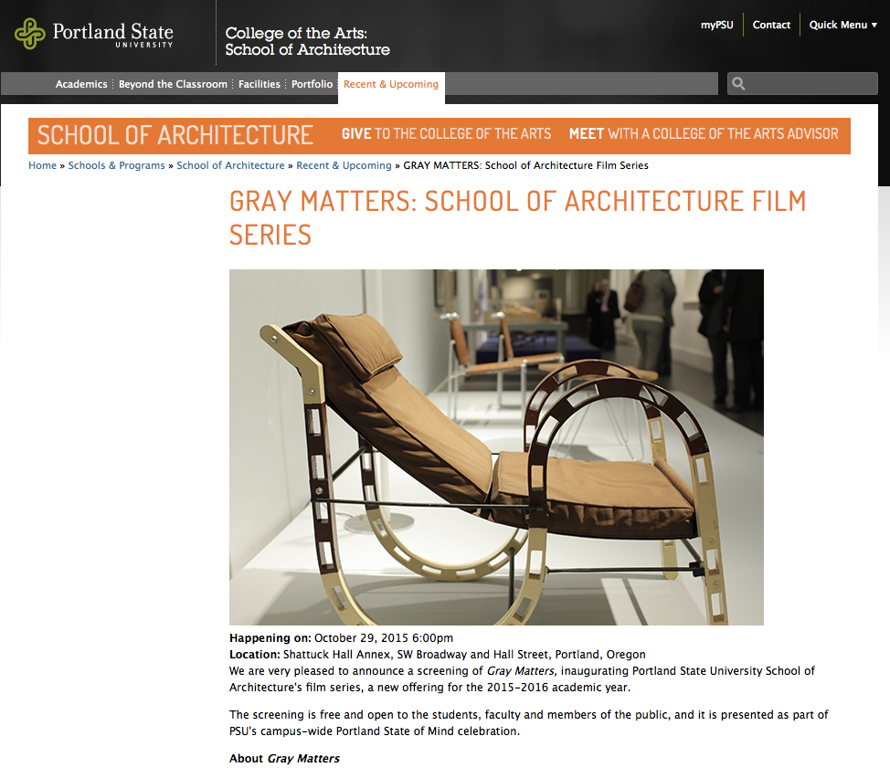 Portland State University School Of Architecture October 29 2015 Gray Matters
